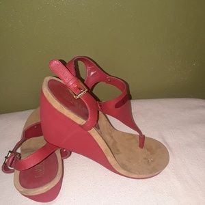 NWOT Ralph Lauren red wedge thong sandal size 9